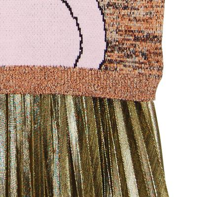 printing crew knit & shining pleats skirt